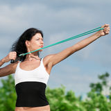 Woman doing stretching exercise. Yoga stock images