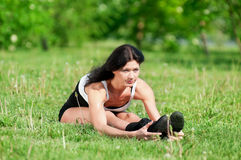 Woman doing stretching exercise. Yoga royalty free stock photos