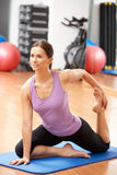 Woman Doing Stretching Exercises Stock Image