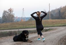 Woman doing stretching exercises. An athletic woman doing stretching exercises. Morning gymnastics with dog stock image