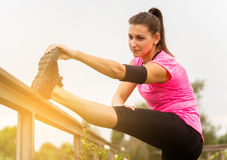 Woman doing stretching exercises. Royalty Free Stock Images
