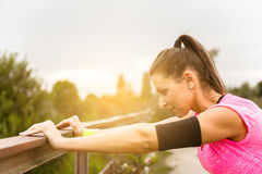 Woman doing stretching exercises. Royalty Free Stock Photo