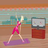 woman doing stretching exercises at home royalty free illustration