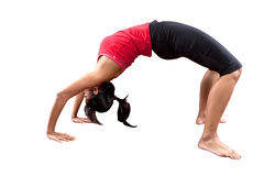 Woman doing stretching of her back exercise. Royalty Free Stock Photos