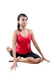 woman doing stretching of her back exercise Royalty Free Stock Image