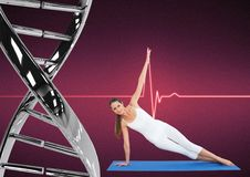 Woman doing stretching with iron dna chain and pink background. Digital composite of woman doing stretching with iron dna chain and pink background Stock Photo