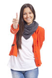 Woman doing thumb up Stock Images