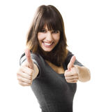 Woman doing thumbs up Royalty Free Stock Photos