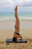 Woman Doing tripod headstand on beach. Young woman doing tripod headstandon  beach in tropical location Stock Images