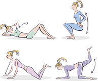 Woman doing typical warm up. Illustration of woman doing typical warm up exercises Stock Images