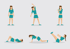Woman Doing Warm Up Exercises Vector Character Illustration. Set of six vector illustrations of sporty woman doing basic basic warm up exercises. Cartoon Stock Image