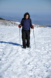 Woman doing winter trekking in the mountains Stock Photography