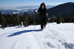 Woman doing winter trekking in the mountains Stock Photo