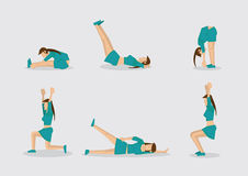 Woman Doing Work Out Routine Vector Character Illustration Stock Images