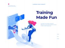 A woman doing a workout on a bike-trainer and using a mobile application to watch out her performance. Landing page concept. A woman doing a workout on a bike stock illustration