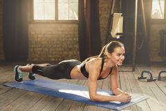 Woman doing workout at home stock photos