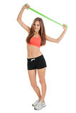 Woman doing workout with physio tape latex Royalty Free Stock Photo