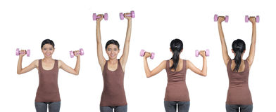 Woman doing workout with weights Stock Photos