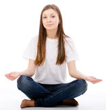Woman doing yoga royalty free stock photos