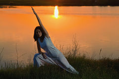 Woman doing yoga Stock Photography