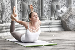 Woman doing yoga in abandoned temple Royalty Free Stock Photos
