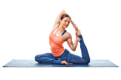 Woman doing yoga asana Eka pada kapotasana Royalty Free Stock Photos