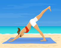Woman doing yoga on the beach royalty free illustration