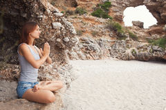 Woman doing yoga Royalty Free Stock Images