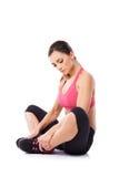 Woman doing yoga exercises Stock Photos