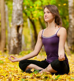 Woman doing yoga exercises in the autumn park Stock Image
