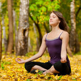 Woman doing yoga exercises in the autumn park Royalty Free Stock Photography