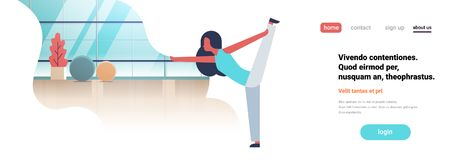 Woman doing yoga exercises gym interior female cartoon character fitness activities full length flat copy space banner royalty free illustration