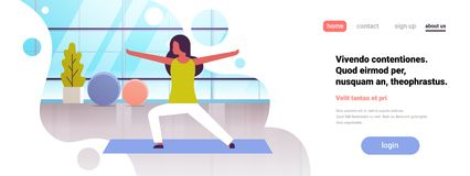 Woman doing yoga exercises gym interior female cartoon character fitness activities full length flat copy space banner vector illustration