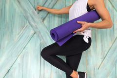 Woman Doing Yoga Exercises In Gym, Sport Fitness Girl Training Stretching royalty free stock photo