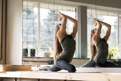 Woman Doing Yoga Exercises In Gym, Sport Fitness Girl Training Stretching royalty free stock photos