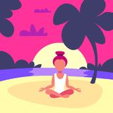 Woman doing yoga exercises lotus sunset beach background female sport activity cartoon character full length flat stock illustration