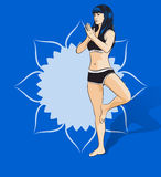 Woman doing yoga exercises. Mandala on the background. Vector image. Stock Images