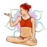 Woman doing yoga exercises. Mandala on the background. Vector image. Stock Photo