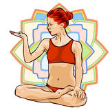 Woman doing yoga exercises. Mandala on the background. Vector image. Royalty Free Stock Images