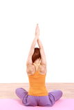 Woman Doing YOGA frog pose Royalty Free Stock Photos