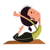 Woman doing yoga  illustration cartoon character Stock Photo