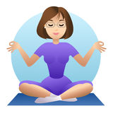 Woman doing yoga meditation. Girl doing relaxation. Vector Royalty Free Stock Photo
