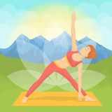 Woman doing yoga. Woman doing yoga in the montains. Meditation and relaxation Royalty Free Stock Photo