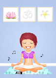 Woman doing yoga with music. Illustration of woman doing yoga with music Royalty Free Stock Photos