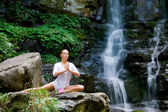 Woman doing yoga in the nature Royalty Free Stock Image