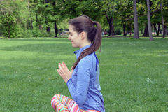 Woman doing yoga in nature Royalty Free Stock Images