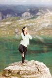 Woman doing yoga in nature Stock Image