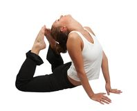 Woman doing yoga over white Royalty Free Stock Image
