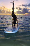 Woman doing yoga on a paddle board Stock Image