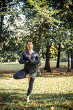 Woman doing yoga in park. Beautiful woman doing yoga in park Royalty Free Stock Image